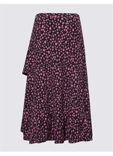 Marks & Spencer Çiçek Desenli Midi Etek Siyah